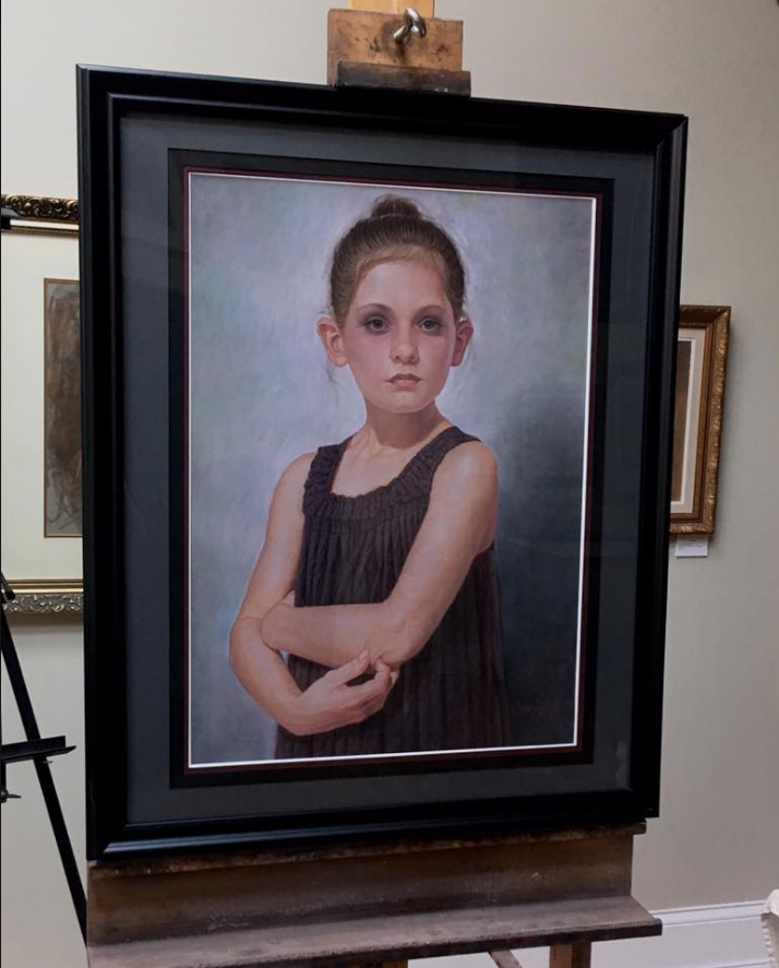 image of pastel painting of a young girl