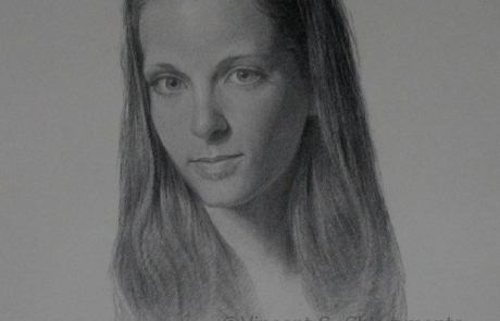 charcoal drawing of girl with long hair