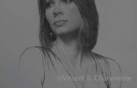 charcoal drawing of a dark haired woman