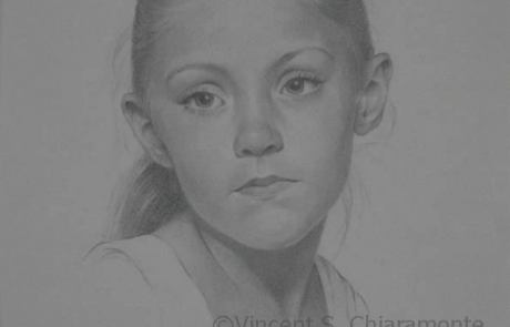 charcoal drawing of school aged girl