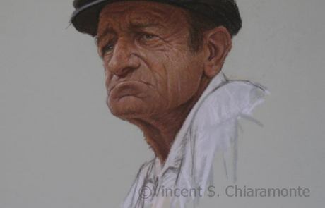 pastel painting of an elderly man wearing a hat