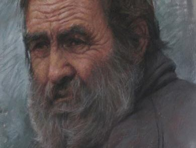 pastel painting of an elderly man wearing a beard
