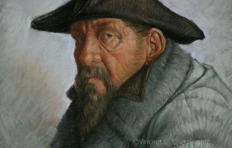 pastel painting of a man wearing a hat