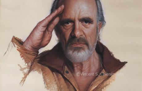 pastel painting of a man saluting