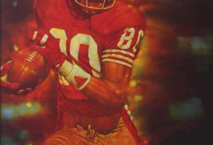 oil painting of football player Jerry Rice