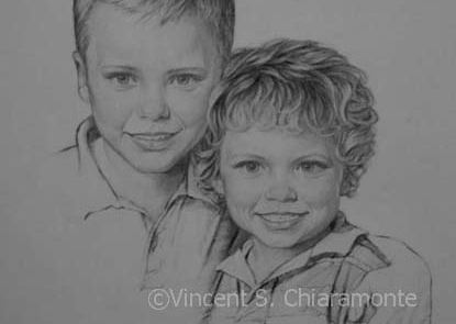 charcoal drawing of two young boys