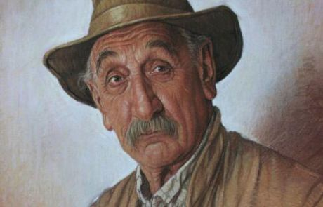 pastel painting of a man with a mustache wearing a hat