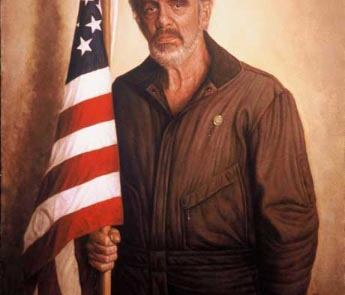 painting of an older white man standing next to an American flag