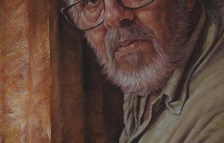 pastel painting of a man