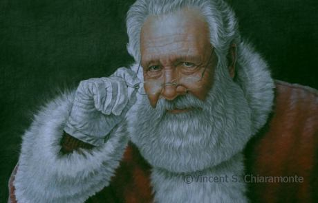 pastel painting of santa claus