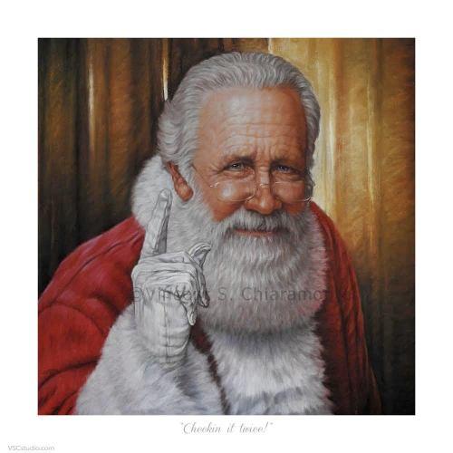 painting of Santa Claus shaking his finger at you