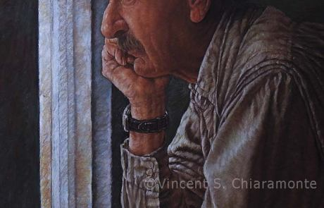 image of an elderly man looking wistfully out of a window