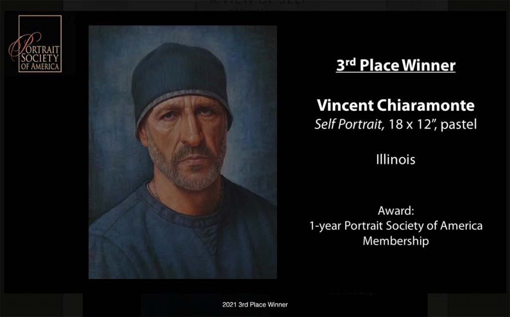 vincent chiaramonte won the 3rd place in Portrait Society of America's fundraiser / contest, A View of Self - 2021.
