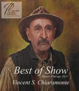 portrait of an old man that won best of show by the chicago pastel painters